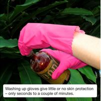 Washing up gloves give little or no skin protection – only seconds to a couple of minutes.