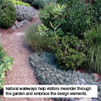 Natural walkways help visitors meander through the garden and embrace the design elements.