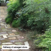 Pathway of salvaged stone.
